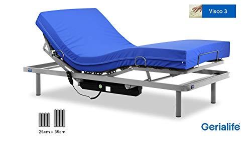 Gerialife® Pack Cama articulada con colchón Sanitario viscoelástico Impermeable 90x190