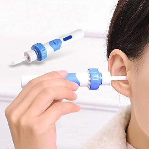 Lorcoo Nettoyeur à Cire cérumen Remover Cleaner Kit avec souple en silicone avec des têtes de remplacement, bleu