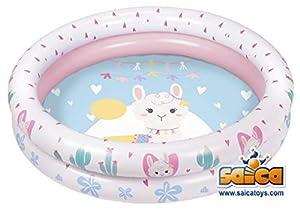 Saica- Modelo. Piscina Hinchable para niñ@s. con Dibujo de Llama, Color Rosa y Azul (9344)