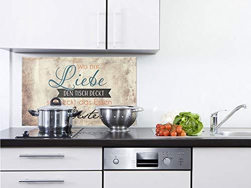 GRAZDesign 200316_100x50_SP Glasrückwand für Küche/Herd | Spritzschutz Wo die Liebe den Tisch Deckt (100x50cm)