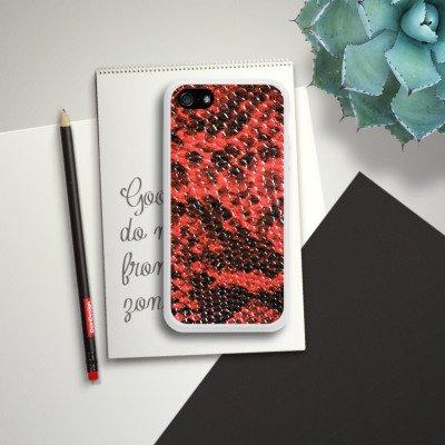 Apple iPhone 5s Housse Étui Protection Coque Peau de serpent Look Serpent Housse en silicone blanc
