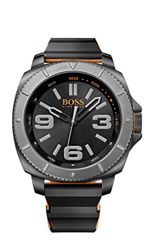 BOSS Orange Men's Quartz Watch with Black Dial Analogue Display and SAO PaULO 1513109 Silicone