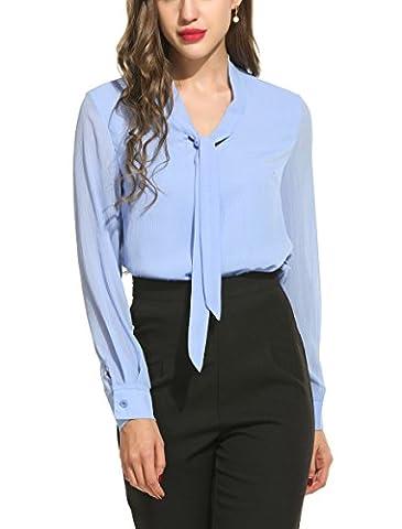 ANGVNS Womens Casual Chiffon Ladies V-Neck Cuffed Sleeve Blouse Tops (Medium, Light Blue)