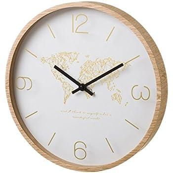 horloge murale mappemonde mdf bois 33 x 33 x 4 cm style. Black Bedroom Furniture Sets. Home Design Ideas