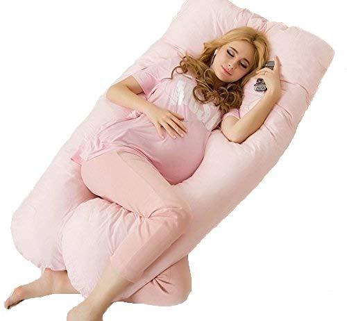 Coussin de grossesse idéal pour dormir - Oreiller de maternité et coussin d'allaitement en U. Soutient parfaitement le ventre et évite les douleurs de dos (Rose 130x70cm)