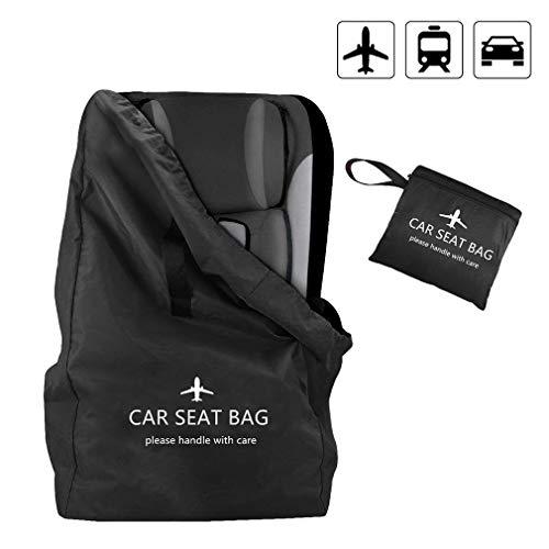 Kinder Autositz Transporttasche mit Rucksack Schultergurte und Namenschildfenster,Einfacher Transport & Leicht zu Identifizieren am Flughafen Gepäckband (schwarz)