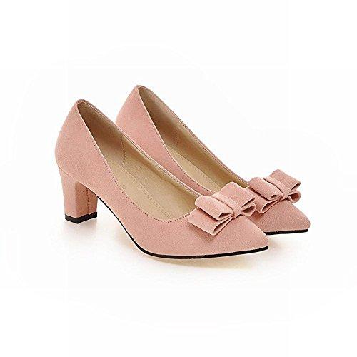 Mee Shoes s眉脽 mit Absatz Pink spitz Geschlossen Damen bequem Pumps Schleife dicker Nubukleder modern 64fwxr6qT