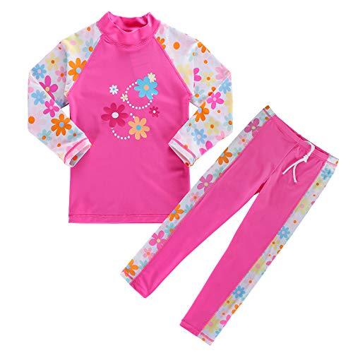 HUAANIUE Mädchen Bademode~Bade-Set Langarm/Kurzarm Badeanzug 50 + UV Kinder Schwimmsportbekleidung Sonnenschutz Blüten Schmetterling