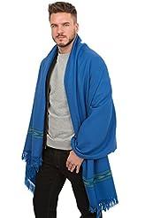 Grande écharpe 'Takhi' tissée à la main en laine mérinos, Cobalt