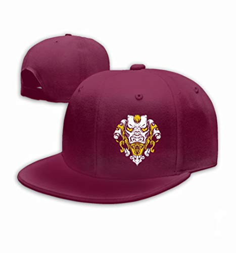 Women's Leisure Snapback Printed Flat Brim Baseball Cap Dragon Design Head Asian Tiger gothick Style Wine (Asian Dragon Kostüm)