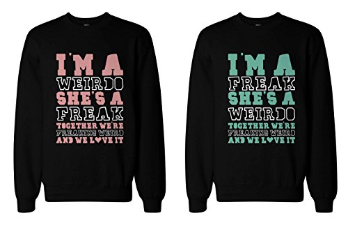 365 Stampa Freak e da Matching BFF Felpe Cute Maglione per Best Friends Black Sinistra-M/Destra-XXL
