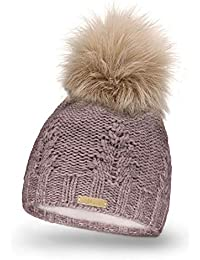 Mikos Bonnet fourré Hiver pour Femme - Bonnet tricoté avec Torsades et Gros  Pompon en Fausse 7ae0b816d3d