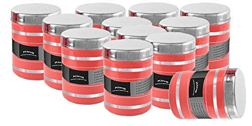[Sponsored]King International Stainless Steel Food Storage Containers, Storage Box ,Red Multipurpose Storage Box,Container Set Of 12 Pieces, 13 Cm, 1000 Ml