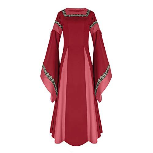 Erwachsene Plus Für Kostüm Shirt - ♥ Loveso♥ Fashion Damenbekleidung Damen Mittelalterliche Kleid mit Trompetenärmel Mittelalter Party Kostüm Maxikleid Elegante Bekleidung