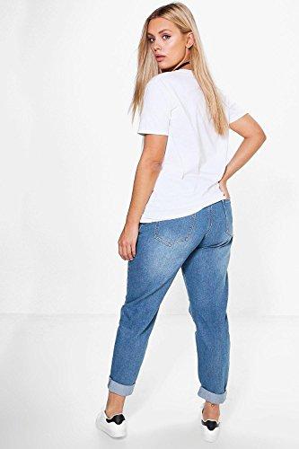 Bleu Femmes Plus Ruby Jean Boyfriend Taille Haute Déchiré Bleu