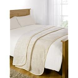 Dreamscene Imitation Fourrure Vison Polaire Couvre-lit/Plaid sur canapé lit Doux Couverture Chaude-150x 200cm, crème