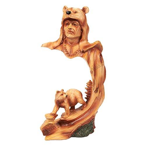 Indianer-Figur, Indianer-Krieger, Indianer, Indianische Skulptur für Innendekoration, Polyresin, Bär, 13 x 23 x 6,5 cm, Braun