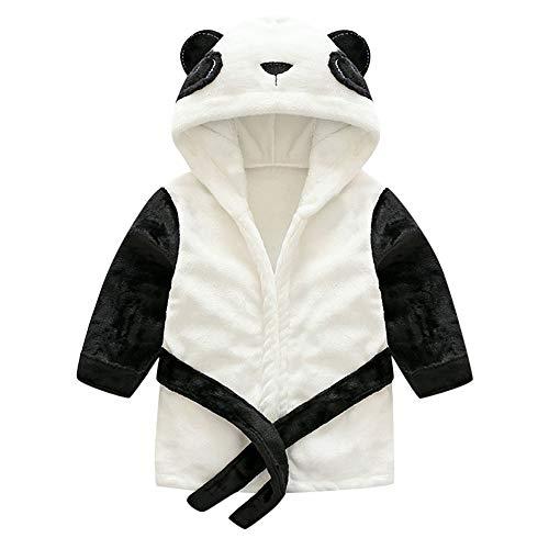 OverDose Damen Baby Jungen Mädchen Kinder Bademantel Cartoon Tiere Nette Weiche Licht Saugfähige Kapuze Handtuch Pyjamas Kleid(Schwarz, 2-3 Jahre)