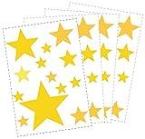 50 Sterne Wandtattoo fürs Kinderzimmer - Wandsticker Set - Pastell Farben, Baby Sternenhimmel zum Kleben Wandaufkleber Sticker Wanddeko - Wandfolie, Kleinkinder, Erstausstattung auf Rauhfaser Gelb