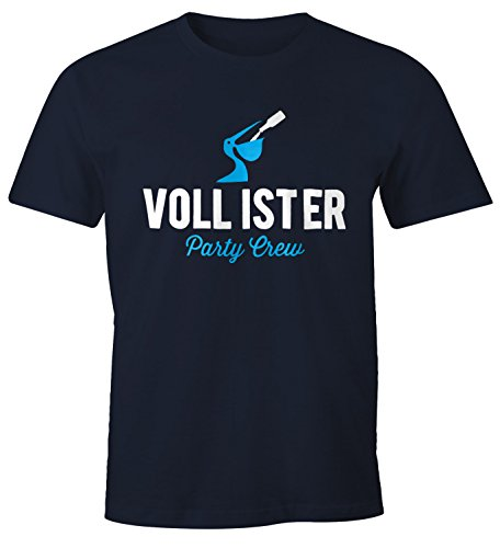 MoonWorks Lustiges Herren T-Shirt Vollister Bier Fun-Shirt Navy L (Voll T-shirt)