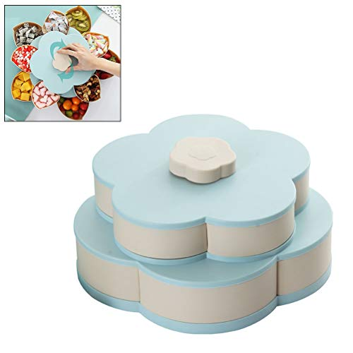 Food Storage Organizer (Petal-Shape Rotating Snack Box Candy Tray Food Storage Box Party Wedding Candy Plates Double-Deck Organizer,Blue)