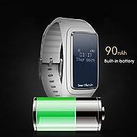 Dailyinshop B2 Reloj Elegante Bluetooth para Auriculares de oxígeno Arterial Monitor de Ritmo cardíaco podómetro, Blanco
