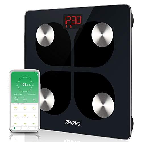 RENPHO Körperfettwaage, Bluetooth Personenwaage mit APP, Smart Körperwaage für Körperfett, BMI, Gewicht, Muskelmasse, Wasser und vieles mehr, per USB Kabel wiederaufladbare Körperanalysewaage