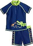 Playshoes Jungen Badehose UV-Schutz Bade-Set Krokodil, Blau (Marine 11), 98 (Herstellergröße: 98/104)
