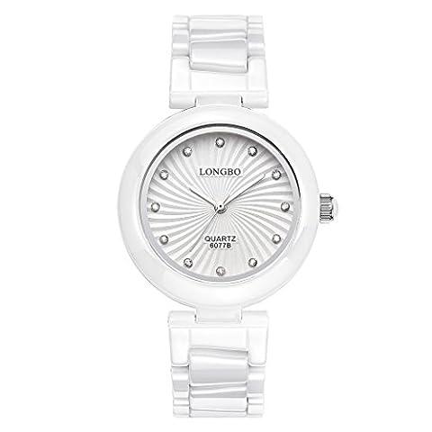 Longbo pour femme Mode Argent analogique montres à quartz femme en céramique Bande Strass Cadran Accentuée Fille Bracelet montre-bracelet décontracté étanche Lady Robe Horloge et