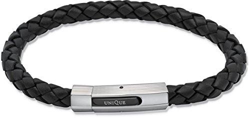 Unique Men Herren Armband Leder Schwarz 19 cm mit Verschluss Edelstahl Gemustert, Nagelhautschieber und Schwarz