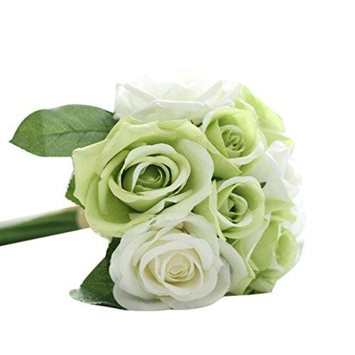 1 x 9 Blumen-Köpfe Künstlich Blumen FORH Elegant Künstliche Rose Seiden Blumen Home Garden Kunst Deko Blumen Bunte Decor Plastikblumen Deko Pflanzen für DIY Hochzeit Party (Grün) - Blume Home Decor