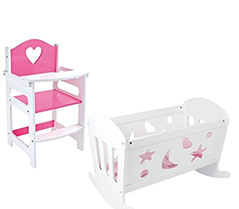 SET OF Dolls Pink and White Wooden Rocking Cradle Cot
