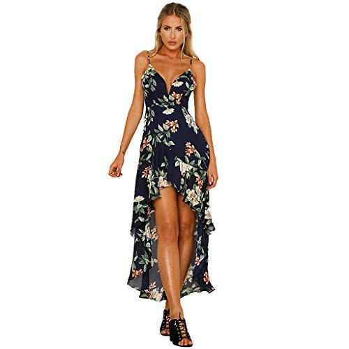 Elecenty Damen V-Ausschnitt Strandkleid Irregulär Sommerkleid Rock Mädchen Blumen Drucken Abendkleider Kleider Frauen Mode Ärmellos Kleid Minikleid Knielang ()