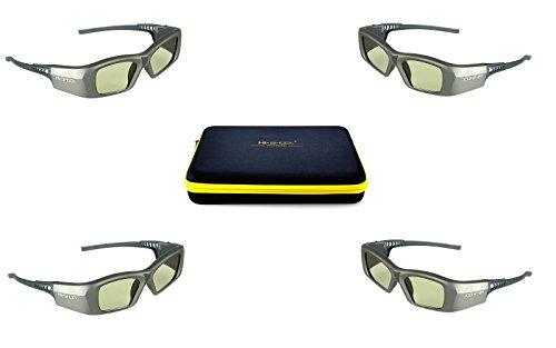 4x Hi-SHOCK® 3D-BT Pro Oxid Diamond | Smart Active Dual Play / Dual View 3D Brille für 4K / HDR / HD 3D TV\'s von Sony, Samsung, Panasonic, Sharp | komp mit SSG-3570 CR / TDG-BT500A | Familypack
