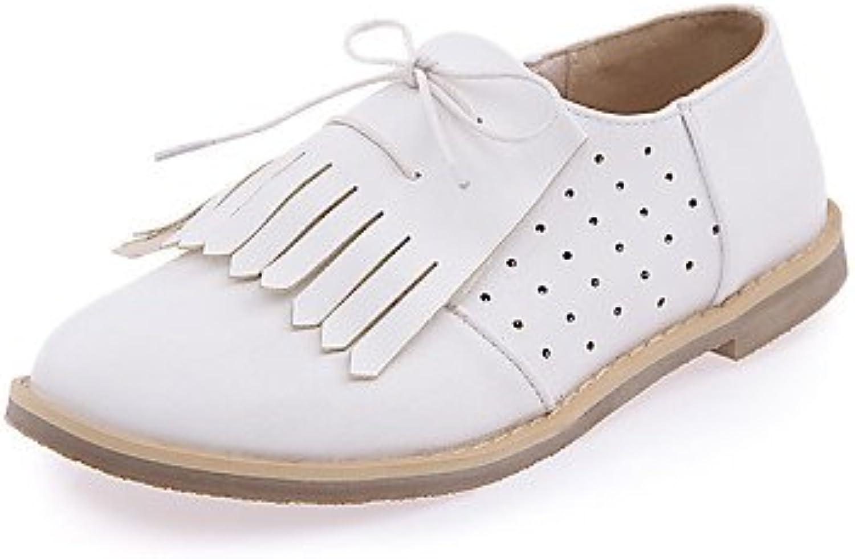 ZQ Zapatos de mujer - Tacón Plano - Punta Redonda - Oxfords - Casual - Semicuero - Azul / Morado / Blanco , purple-us10.5...
