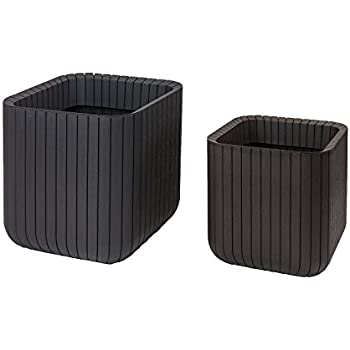 keter wood style effect garden planters 2 set cube plant pots brown