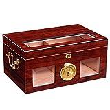 Ljf Boîte à cigares Cigar Humidor Ménage Grande capacité Cigare Cabinet Pine Cigar Moisturizing Cabinet Hydratant Cigarette Case Peut contenir 100 Cadeau (Color : Red, Size : 37.5 * 24.5 * 18CM)