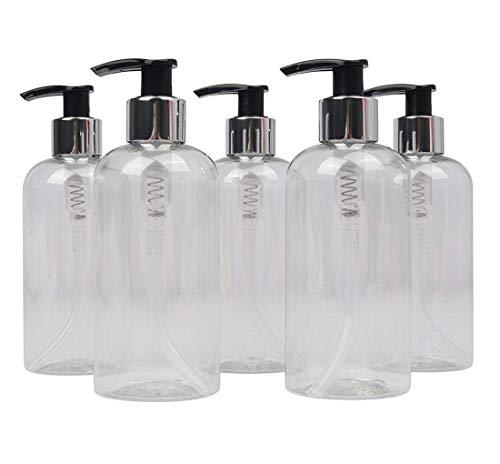 LUCEMILL - 5 Botellas de plástico vacías de 250 ml con dispensador de loción de Color Negro y Plateado - Reciclables