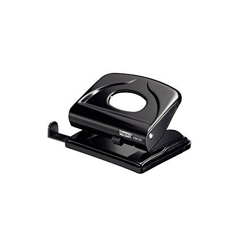 Rapid 21835411 Locher (20 Blatt, Anschlagschiene mit Formatvorgaben, Metall, FMC20, Blisterverpackung) schwarz