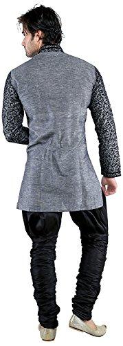 New Looks Men's Linen Kurta Pyjama (NL2224, Grey, Large)