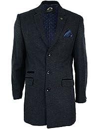 Mens Winter Over Coat Grey Navy 3/4 Long Jacket Crombie Herringbone Tweed