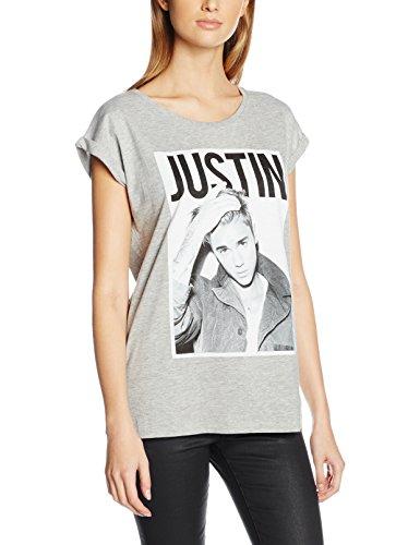 Mister Tee Damen Ladies Justin Bieber T-Shirts, Heather Grey, M