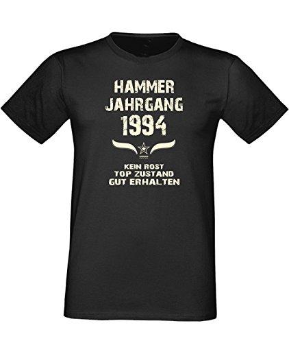 Mega trendiges humorvolles Happy-Birthday-Fun-t-shirt Geschenk mit Sprüche-Motiv: zum 22. Geburtstag Hammer Jahrgang 1994 Farbe: schwarz Schwarz