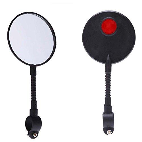 LEvifun Radsport Mini Rückspiegel Handlebar Reflektoren Leuchtclipse Fahrrad Rücklicht Fahrradlicht Radsport Zubehör A2 (Schwarz)