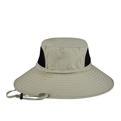 Hut mit breiter Krempe,Sommer-Sonnenbrillen mit breiter Krempe UV-Schutz Strandhut Showerproof Safari Boonie Hat Faltbarer Angelhut mit verstellbarem Kinnriemen und atmungsaktiver Mesh-Krone (Khaki)
