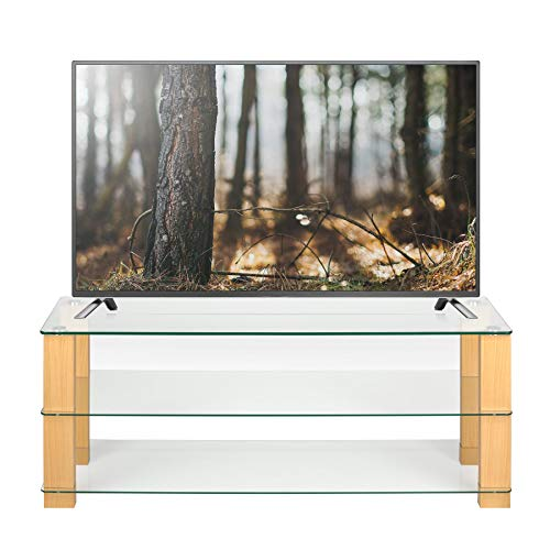 ce8d4b4b8ab7 Clear Glass TV Stand Oak Legs 125cm wide for 32 42 50 55 inch LCD LED