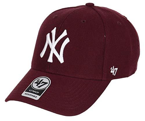 47Brand MVP Adjustable Cap NY Yankees B-MVP17WBV-KMA Dunkelrot, Size:ONE Size