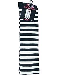 1 Paar modische Overknees schmal geringelte Socken