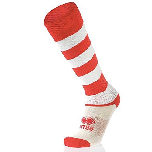 Errea zone calze calzettoni calcio calcetto rugby pallavolo rosso bianco adulto