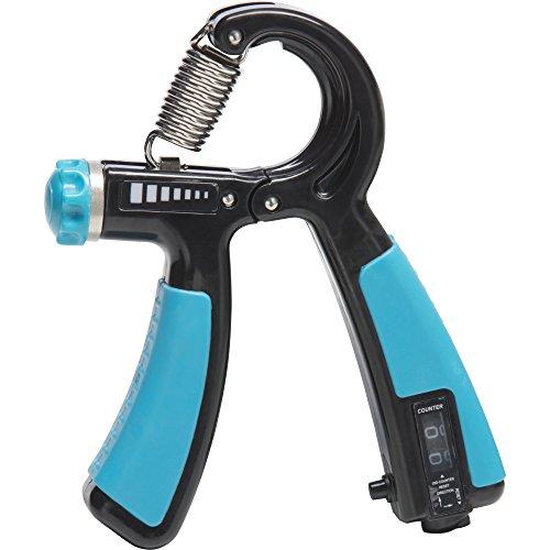 Einstellbare Zähler (GORILLA SPORTS® Handtrainer mit Zähler und einstellbaren Widerstandsbreich 10-40 kg - Fingerhantel mit Feder verstellbar Schwarz/Blau)